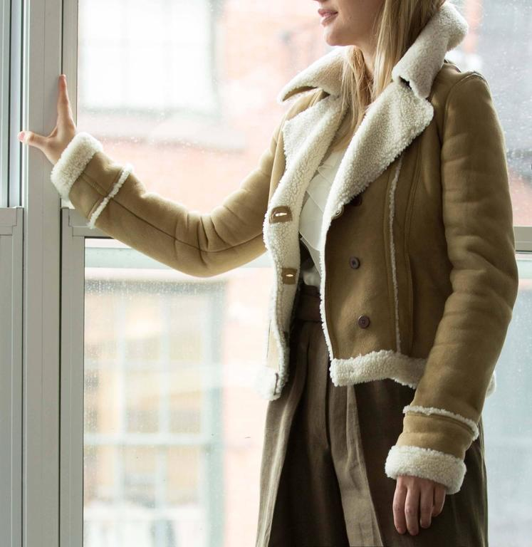 Balenciaga Tan & Ivory Shearling Jacket For Sale 1