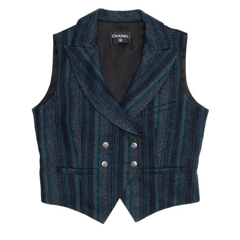 08A Collection: Woven wool black, teal, & grey striped double breasted fitted suit vest.  Size  44 French sizing  Condition  Pristine and Excellent