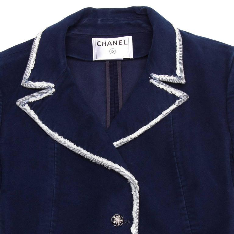 Women's Chanel Navy Moleskin and Frayed Denim Trim Blazer For Sale