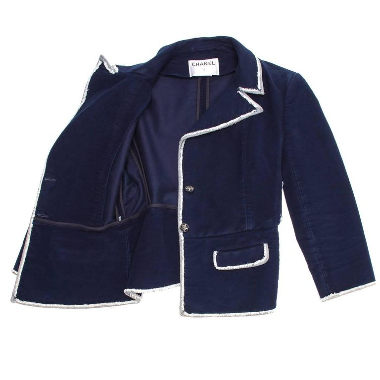 Black Chanel Navy Moleskin and Frayed Denim Trim Blazer For Sale