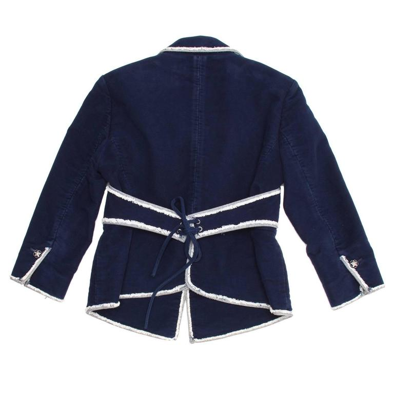 Chanel Navy Moleskin and Frayed Denim Trim Blazer In Excellent Condition For Sale In Brooklyn, NY
