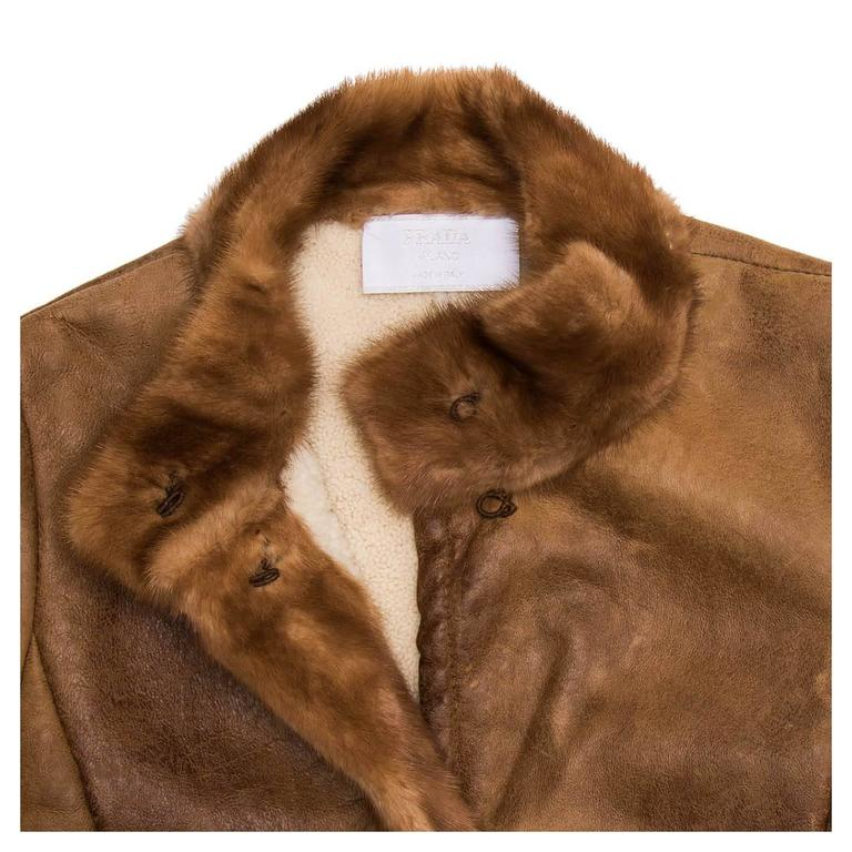 Women's Prada Brown Distressed Shearling Jacket For Sale
