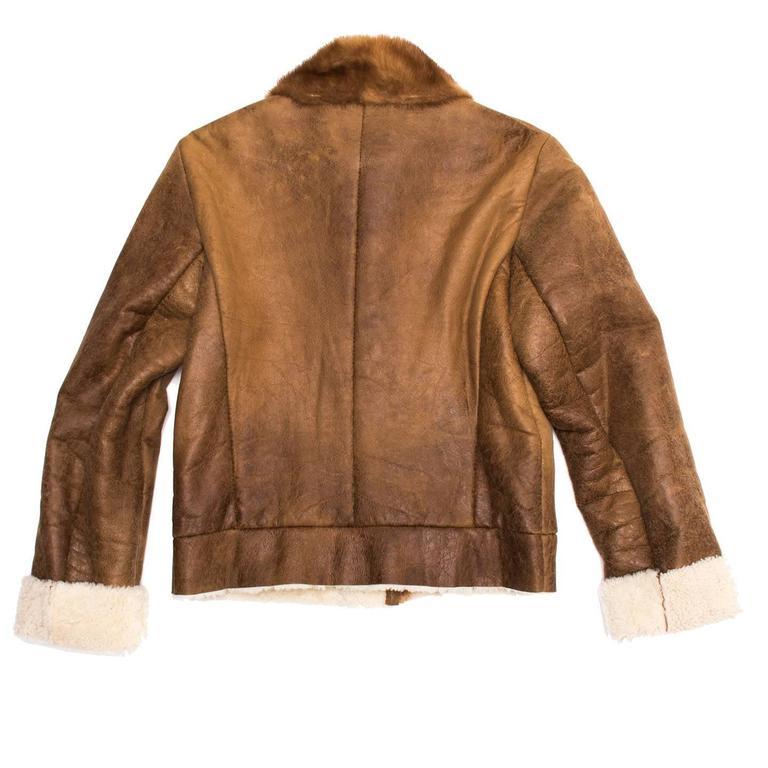 Prada Brown Distressed Shearling Jacket For Sale 2