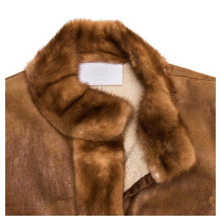 Prada Brown Distressed Shearling Jacket For Sale 1