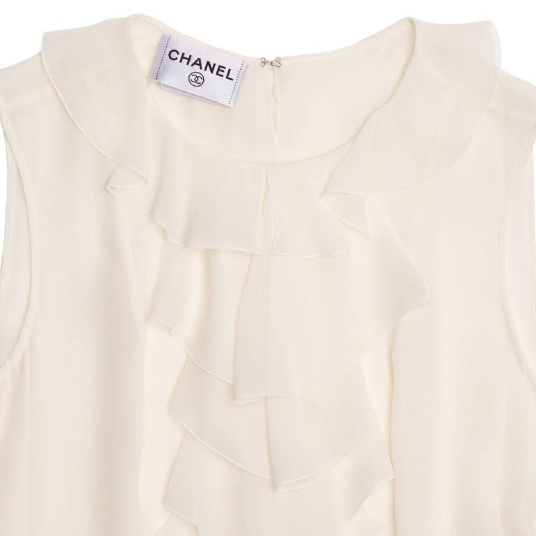 Chanel Ivory Silk Sleeveless Ruffle Bib Top 4