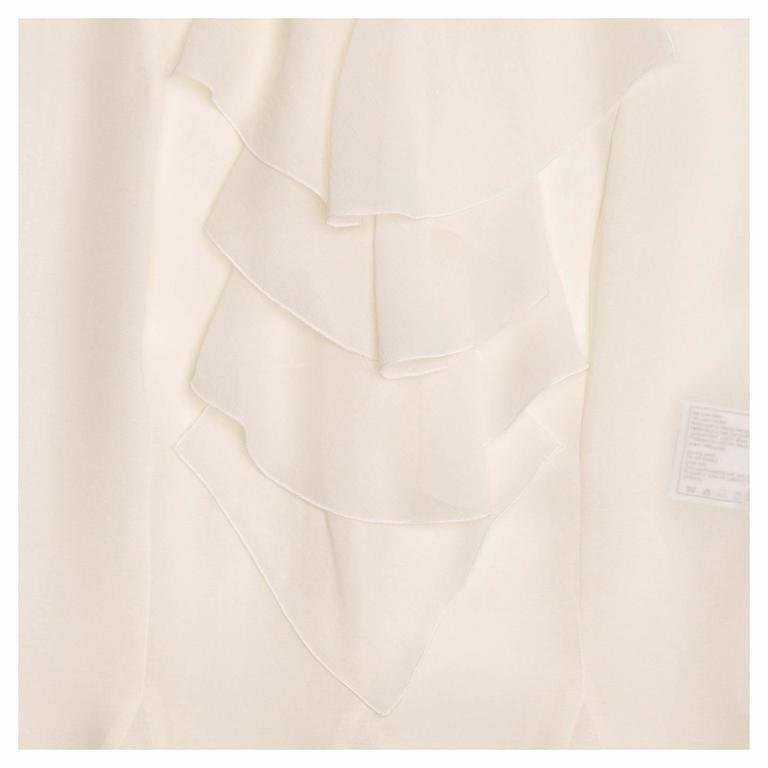Chanel Ivory Silk Sleeveless Ruffle Bib Top 5