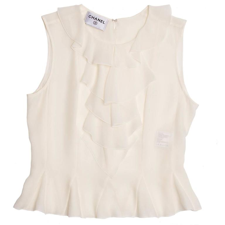 Chanel Ivory Silk Sleeveless Ruffle Bib Top 2