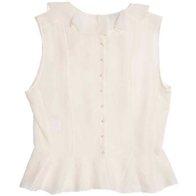 Chanel Ivory Silk Sleeveless Ruffle Bib Top 3