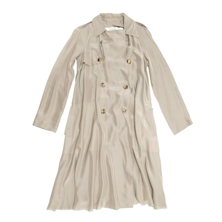 Lanvin Taupe Silk Trench Coat 3
