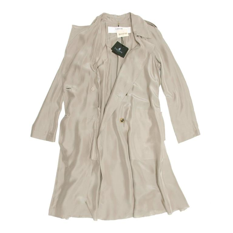Lanvin Taupe Silk Trench Coat 4