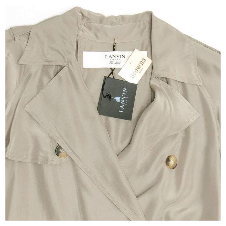 Lanvin Taupe Silk Trench Coat 7