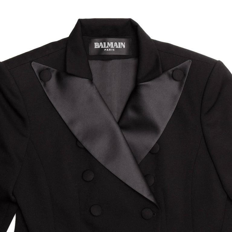 Balmain Black Wool Tuxedo Jacket For Sale 1