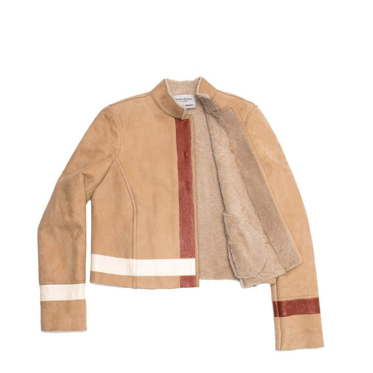 Beige Yves Saint Laurent Tan Shearling Short Jacket For Sale