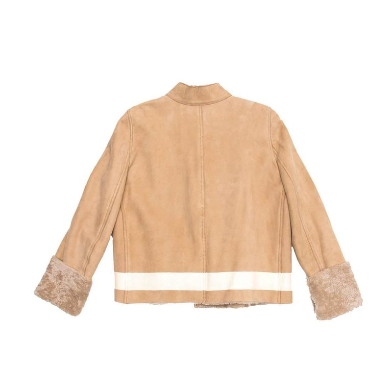 Yves Saint Laurent Tan Shearling Short Jacket In Excellent Condition For Sale In Brooklyn, NY