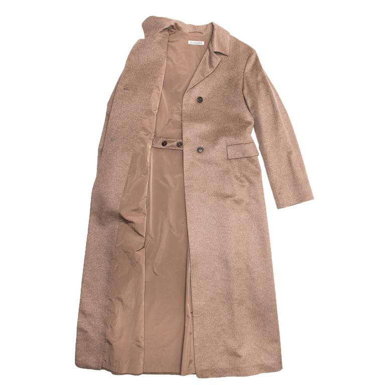 Brown Jil Sander Camel Cashmere & Mink Long Coat For Sale