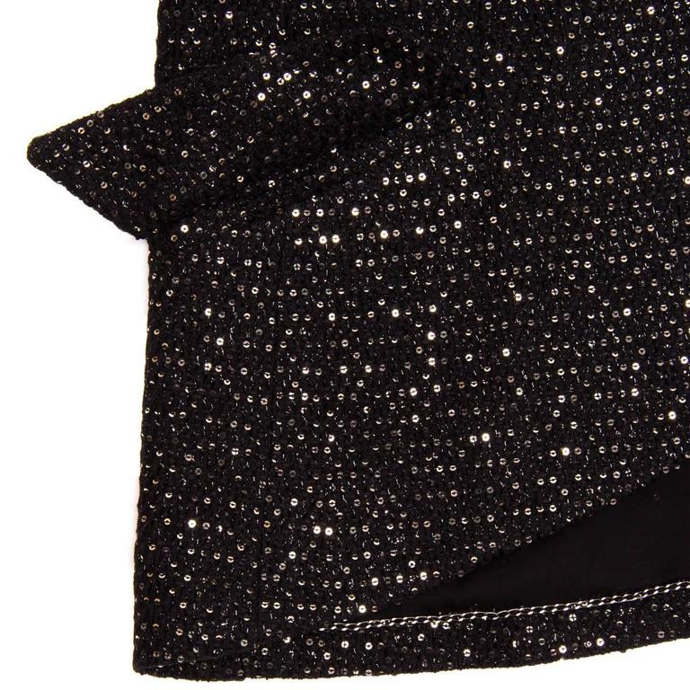 Chanel Black & Gold Sequined Tailored Blazer 4