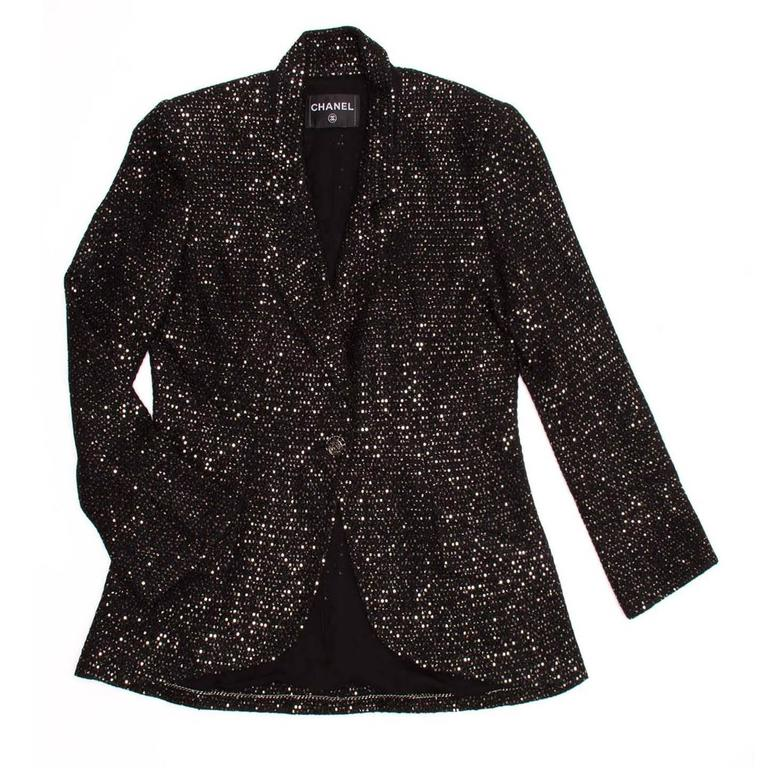 Chanel Black & Gold Sequined Tailored Blazer 2