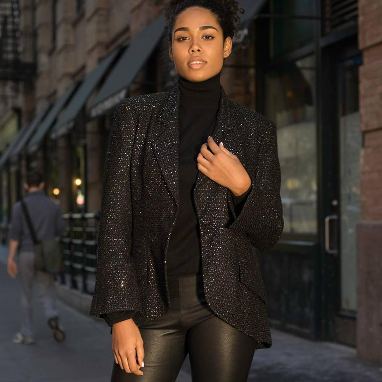 Chanel Black & Gold Sequined Tailored Blazer 6