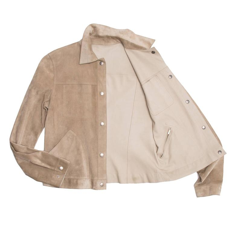 Jil Sander Tan Leather & Suede Reversible Jacket In New Condition For Sale In Brooklyn, NY