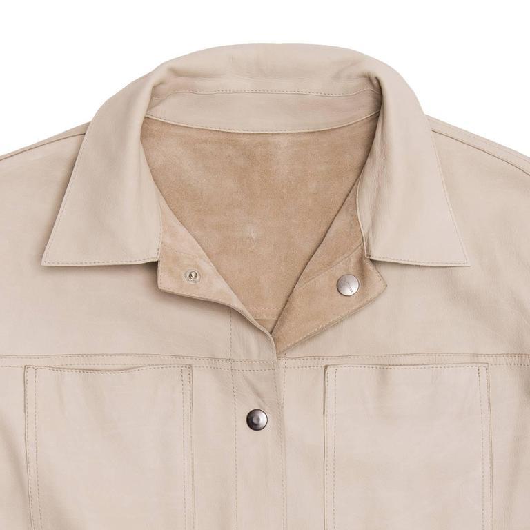 Women's Jil Sander Tan Leather & Suede Reversible Jacket For Sale