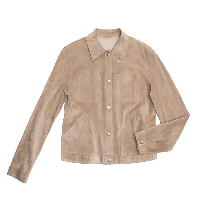 Brown Jil Sander Tan Leather & Suede Reversible Jacket For Sale