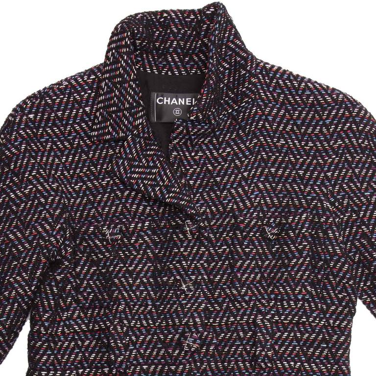 Women's Chanel Multicolor Herringbone Belted Tweed Coat For Sale