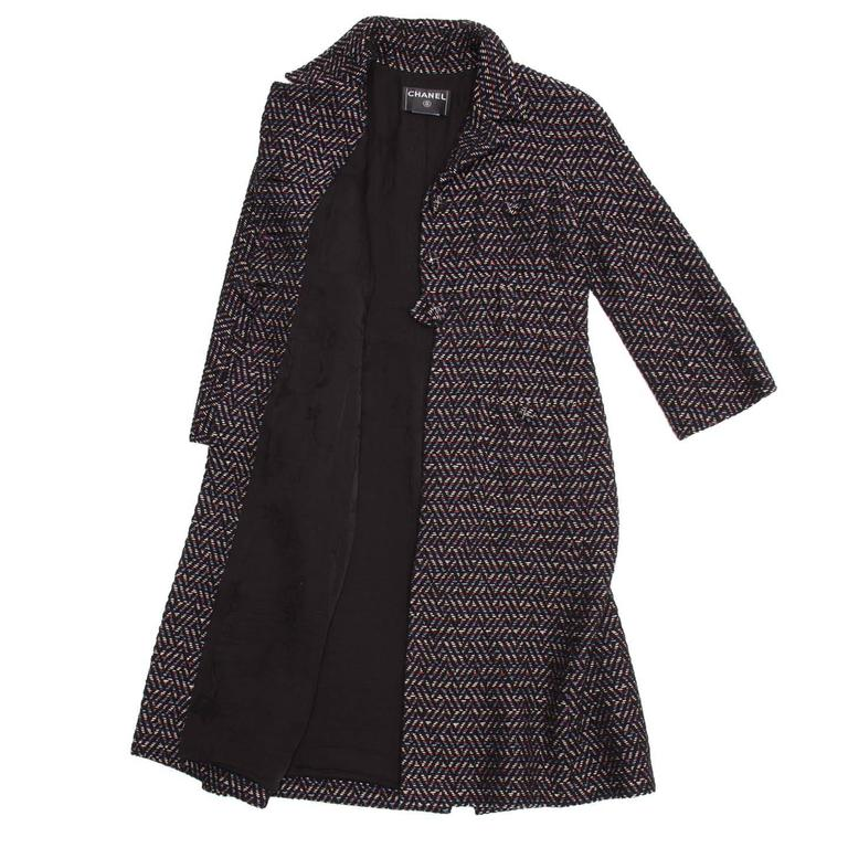 Black Chanel Multicolor Herringbone Belted Tweed Coat For Sale