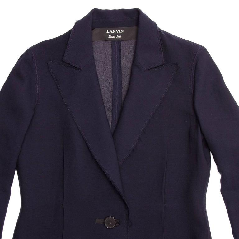 Lanvin Navy Wool Long Coat 5