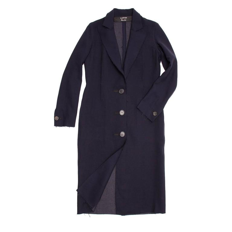Lanvin Navy Wool Long Coat 2