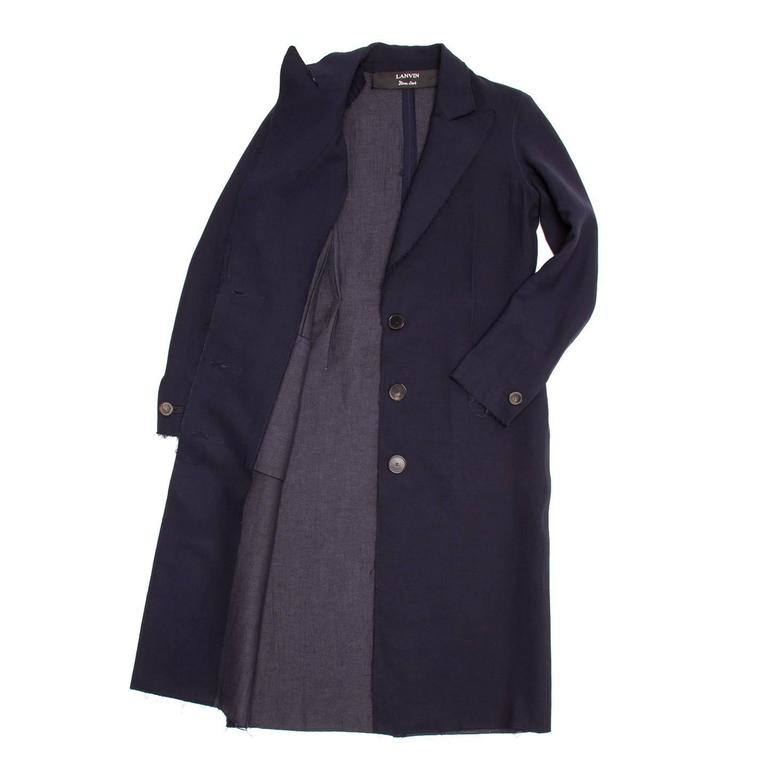 Lanvin Navy Wool Long Coat 3