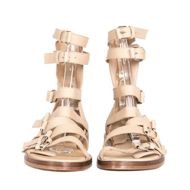 Ann Demeulemeester Tan Gladiator Sandals In New Condition For Sale In Brooklyn, NY