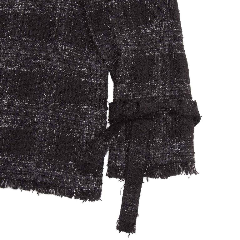 Chanel Black & Grey Silk and Cotton Tartan Jacket with Ties at Cuff 5