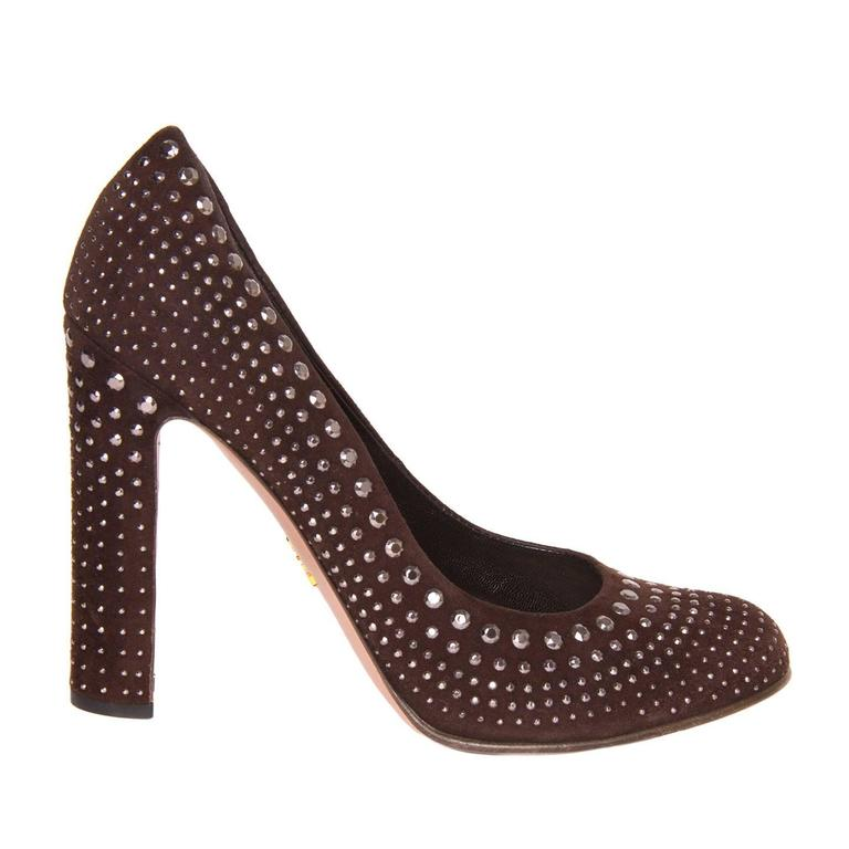 Prada Burgundy Suede & Crystals Pumps For Sale