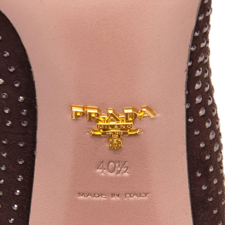 Prada Burgundy Suede & Crystals Pumps For Sale 2