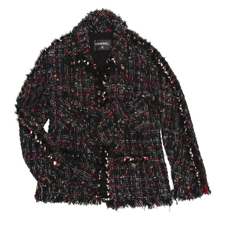 Signature tweed black, grey, red, & white confetti jacket with synthetic fur detail and frayed trim.  Size  42 French sizing  Condition Pristine: never worn