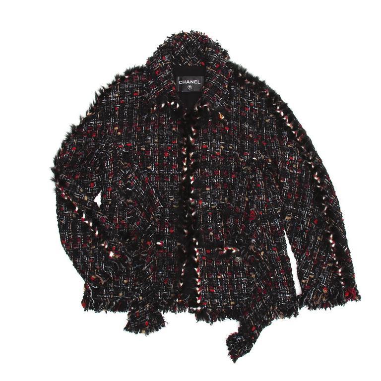 Chanel Multicolor Tie Front Tweed Jacket 3