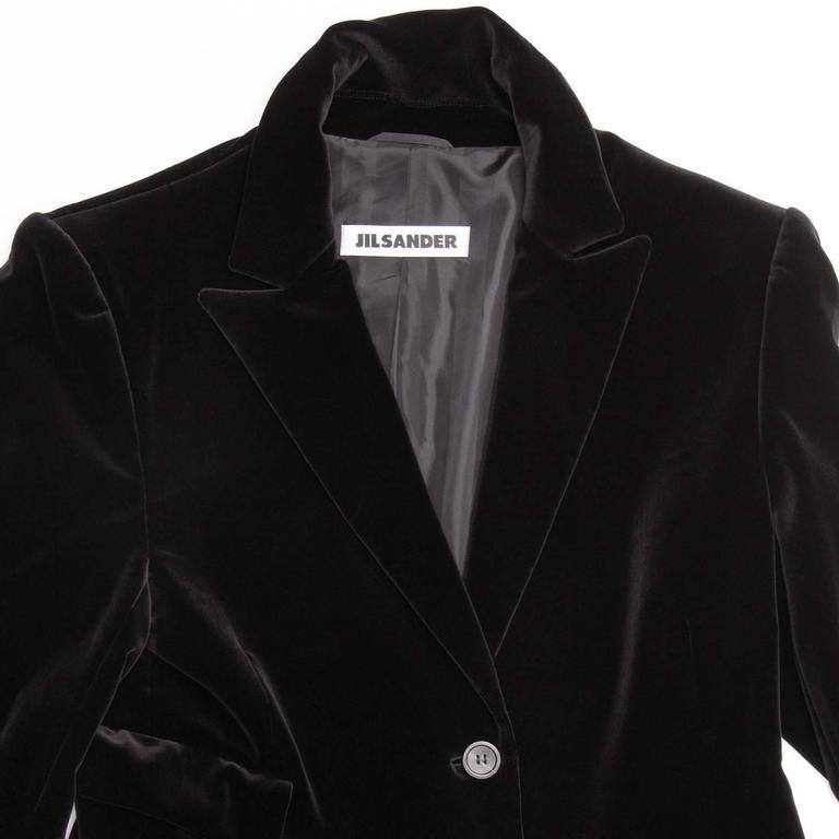 Jil Sander Black Cotton Velvet Coat For Sale 1