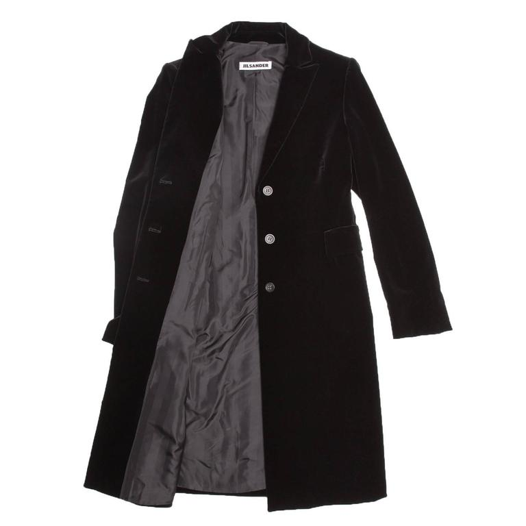 Jil Sander Black Cotton Velvet Coat In New Never_worn Condition For Sale In Brooklyn, NY