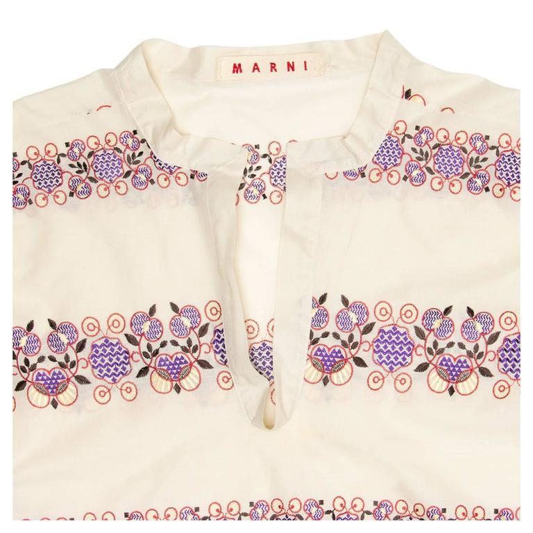 Marni Multicolor Floral Embroideries Tunic In New never worn Condition For Sale In Brooklyn, NY