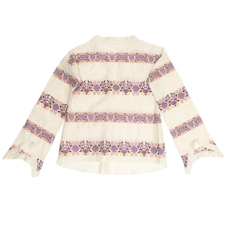 White Marni Multicolor Floral Embroideries Tunic For Sale