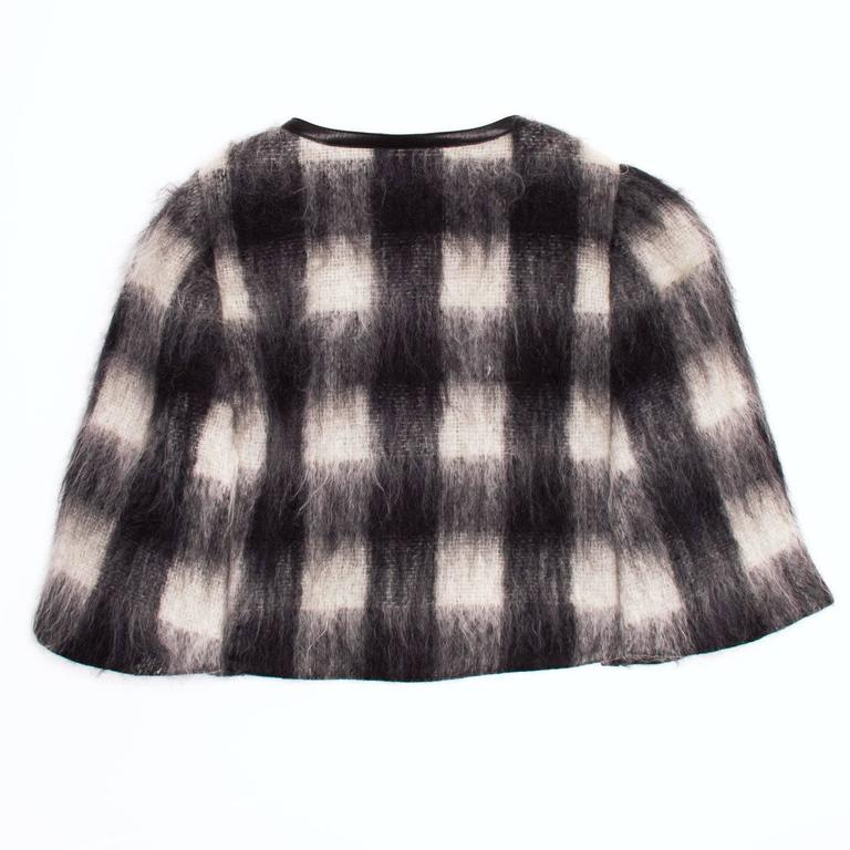 Prada Black & White Mohair Caplet In Excellent Condition For Sale In Brooklyn, NY