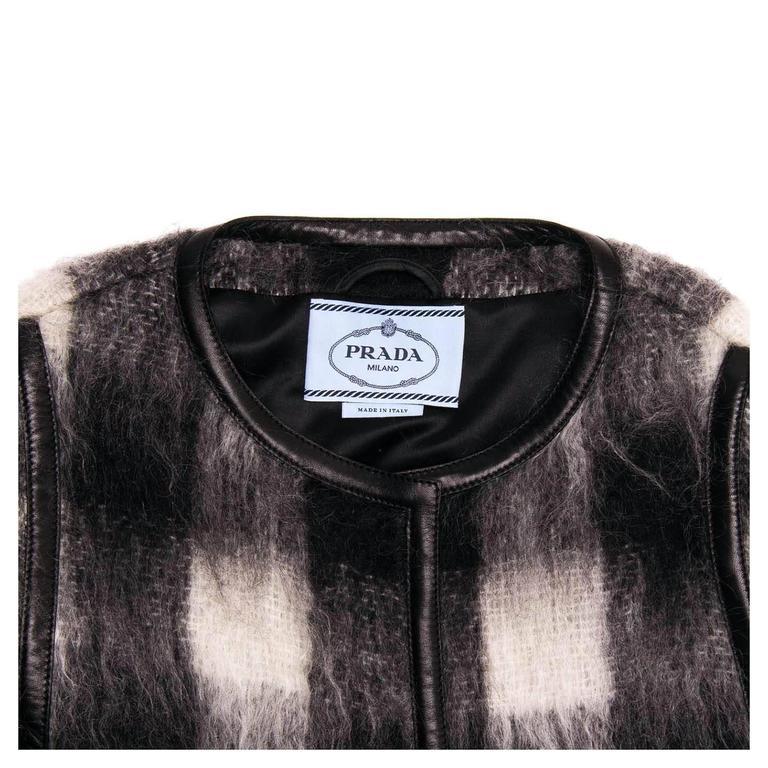 Prada Black & White Mohair Caplet For Sale 1