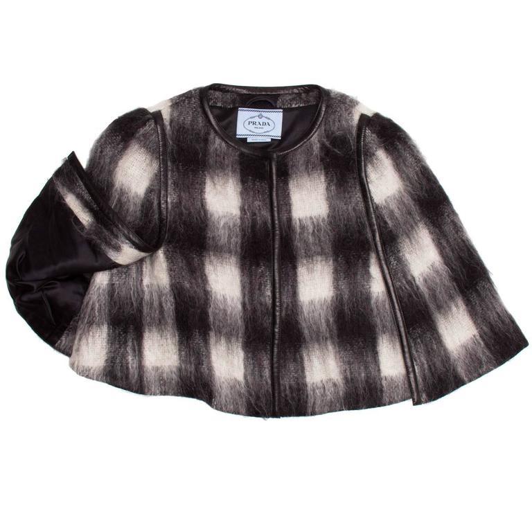 Women's Prada Black & White Mohair Caplet For Sale