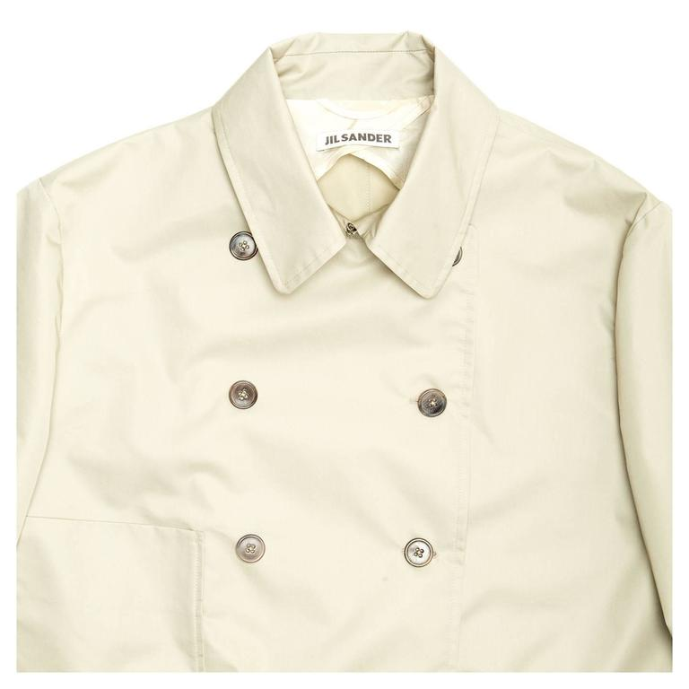 Women's Jil Sander Ecru Double Breasted Raincoat For Sale