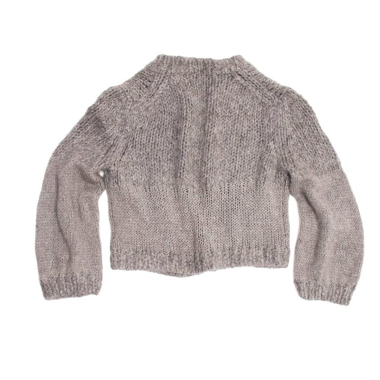 Chanel Grey Cashmere, Angora and Chinchilla Cropped Cardigan 3