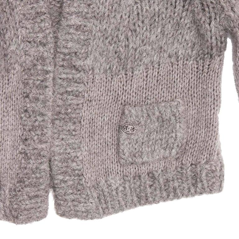 Women's Chanel Grey Cashmere, Angora and Chinchilla Cropped Cardigan For Sale