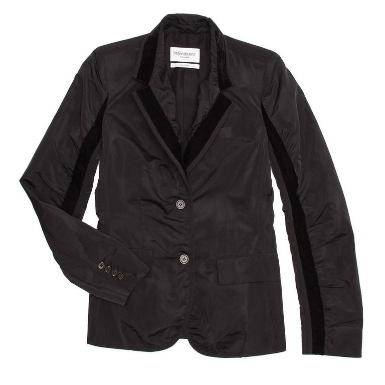 Black fitted single breasted silk tuxedo jacket with ruching detail and velvet trim collar and inner sleeve seam. Designer: Tom Ford  Size   40 French sizing  Condition   Excellent: never worn