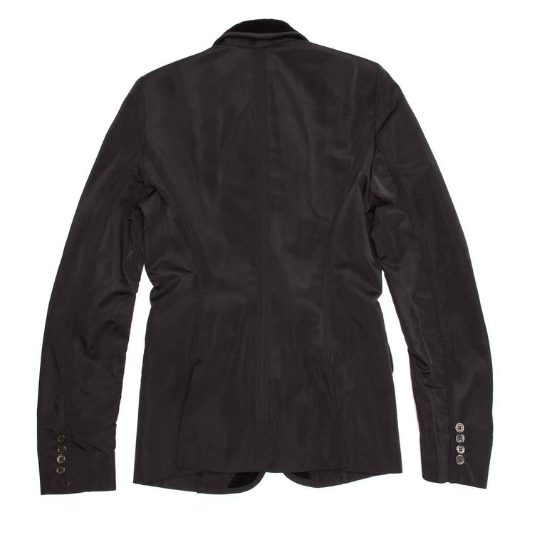 Yves Saint Laurent Black Silk Fitted Tuxedo Style Jacket In New Condition For Sale In Brooklyn, NY