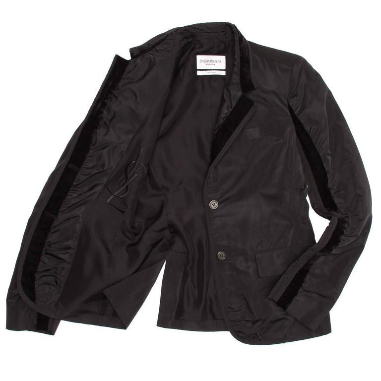 Women's Yves Saint Laurent Black Silk Fitted Tuxedo Style Jacket For Sale