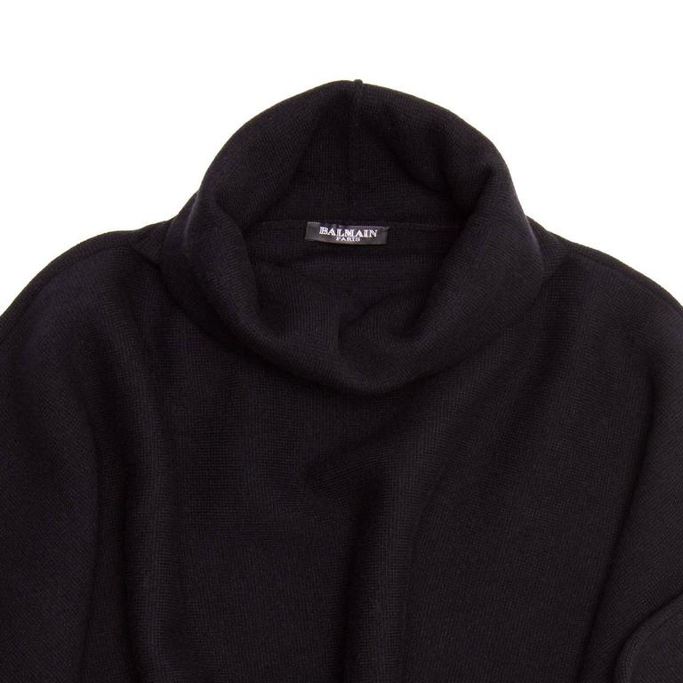 Women's Balmain Black Wool & Cashmere Poncho For Sale